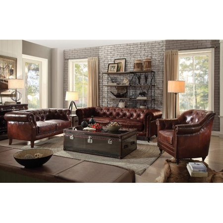 Vintage Dark Brown Leather Tufted Sofa Set 4Pcs Acme Furniture 53625  Aberdeen