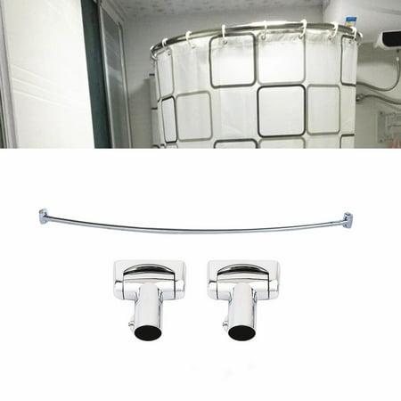 Pratical Curved Shower Curtain Rod Brushed Nickel Bath Area Bathtub Accessory