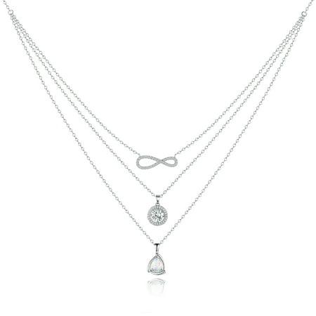 Tourmaline Crystal Pendant - Rhodium-Plating Fire Opal with Swarovski Crystal Tripe Strand Necklace