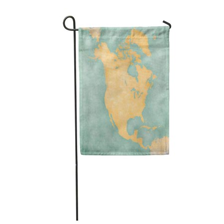 SIDONKU Blank Outline Map of North America The is in Vintage Summer and Sunny Mood Has Garden Flag Decorative Flag House Banner 12x18