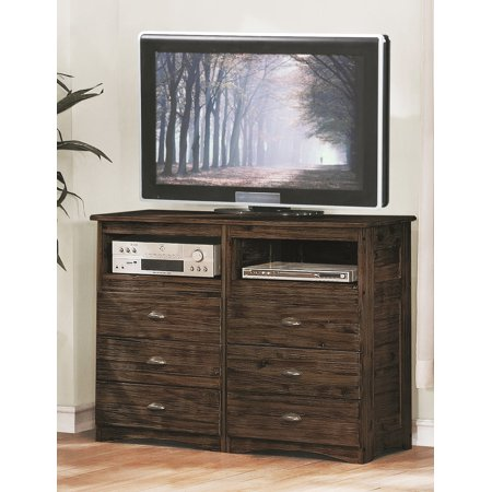 Hardwood Veneer Furniture Collection - American Furniture Classics Assembled Entertainment Chest with Six Drawers in Solid Acacia Hardwoods and Veneers