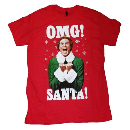 Elf Mens Red OMG! SANTA! Will Ferrell Christmas T-Shirt - Will Ferrell Costumes