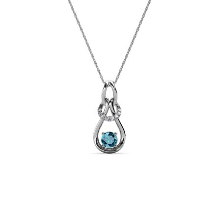 14k Gold Diamond Love Knot - Diamond & London Blue Topaz 0.18 cttw Women Love Knot Slider Pendant 14K White Gold with 18