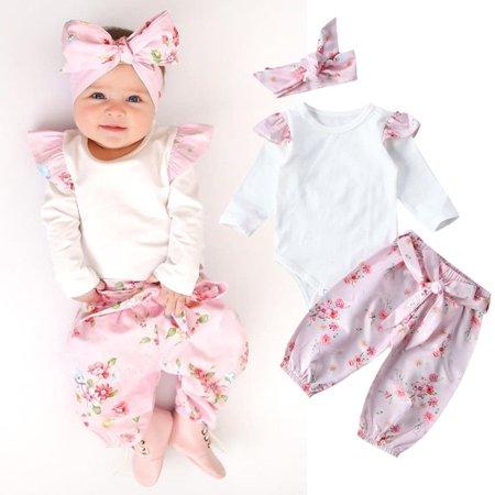a7df842eea791 Newborn Kids Baby Girls Floral Romper Bodysuit Pants Leggings Outfit Set  Clothes