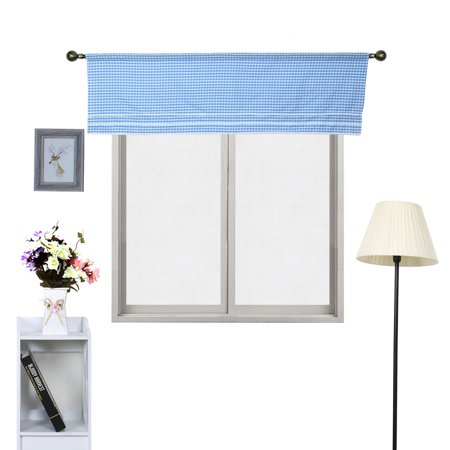 Polyester Plaid Pattern Short Curtain Window Valance Blue 60 Inch x 17.7 Inch - image 4 de 7