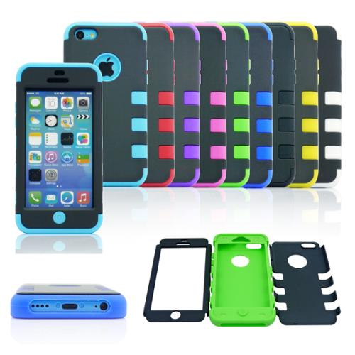Gearonic Hard PC Soft Silicone Case Cover For Apple iPhone 5CApple iPhone 5C Black