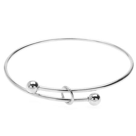 Expandable Charm Bangle Bracelet, Large 2-Ball Add a Charm, 1 Bracelet, Bright Silver for $<!---->