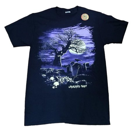 Halloween Mens Black Glow In The Dark Graveyard Shift Graphic T-Shirt - Halloween Graveyards