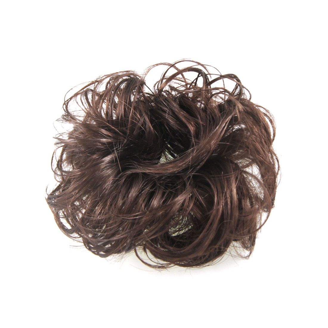 Unique Bargains Light Brown Faux Hair Wedding Elastic Band Curly Hairpiece Wig Bun