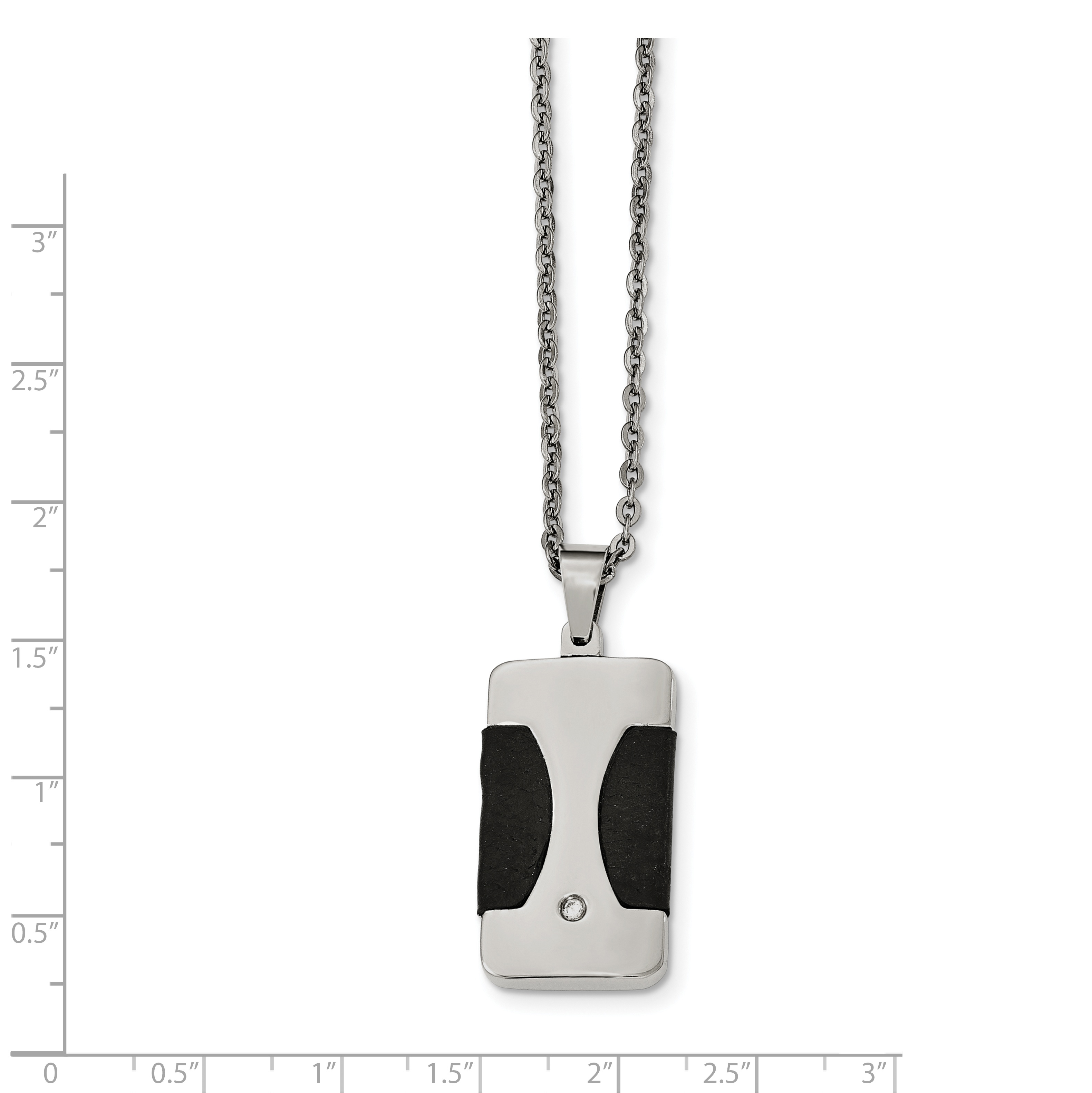 Stainless Steel Polished with CZ & Leather Reversible Inlay Necklace 22in - image 3 of 4