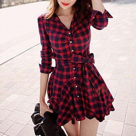 Women Casual Long Sleeve Rose Plaid Retro Skirt Evening Party Cocktail Dress