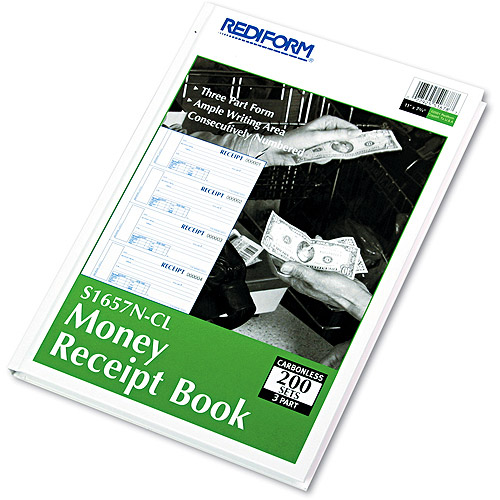 Rediform Durable Hardcover Numbered Money Receipt Book, 6-7/8 x 2-3/4, 3-Part, 200 Forms