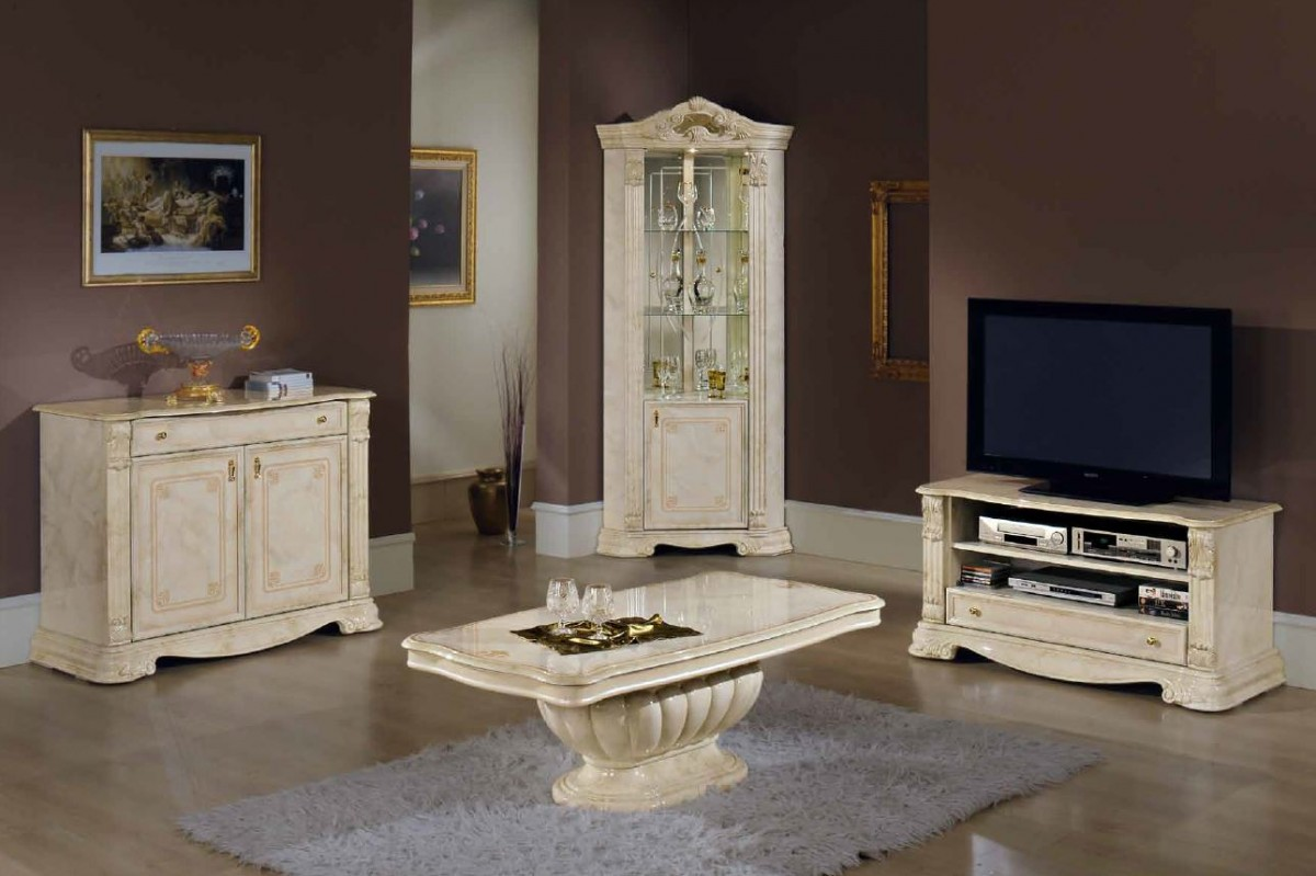 1PerfectChoice Italian Beige Dining Set With Table Armchairs Chairs Buffet Mirror No China Cabinet