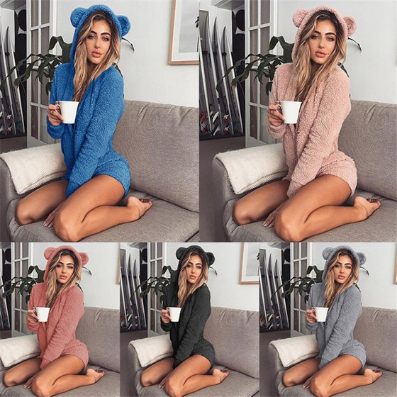 0d3ea2325f UKAP - Warm Pajama Hooded Cute Rabbit Ear Fleece Women Soft Velvet ...