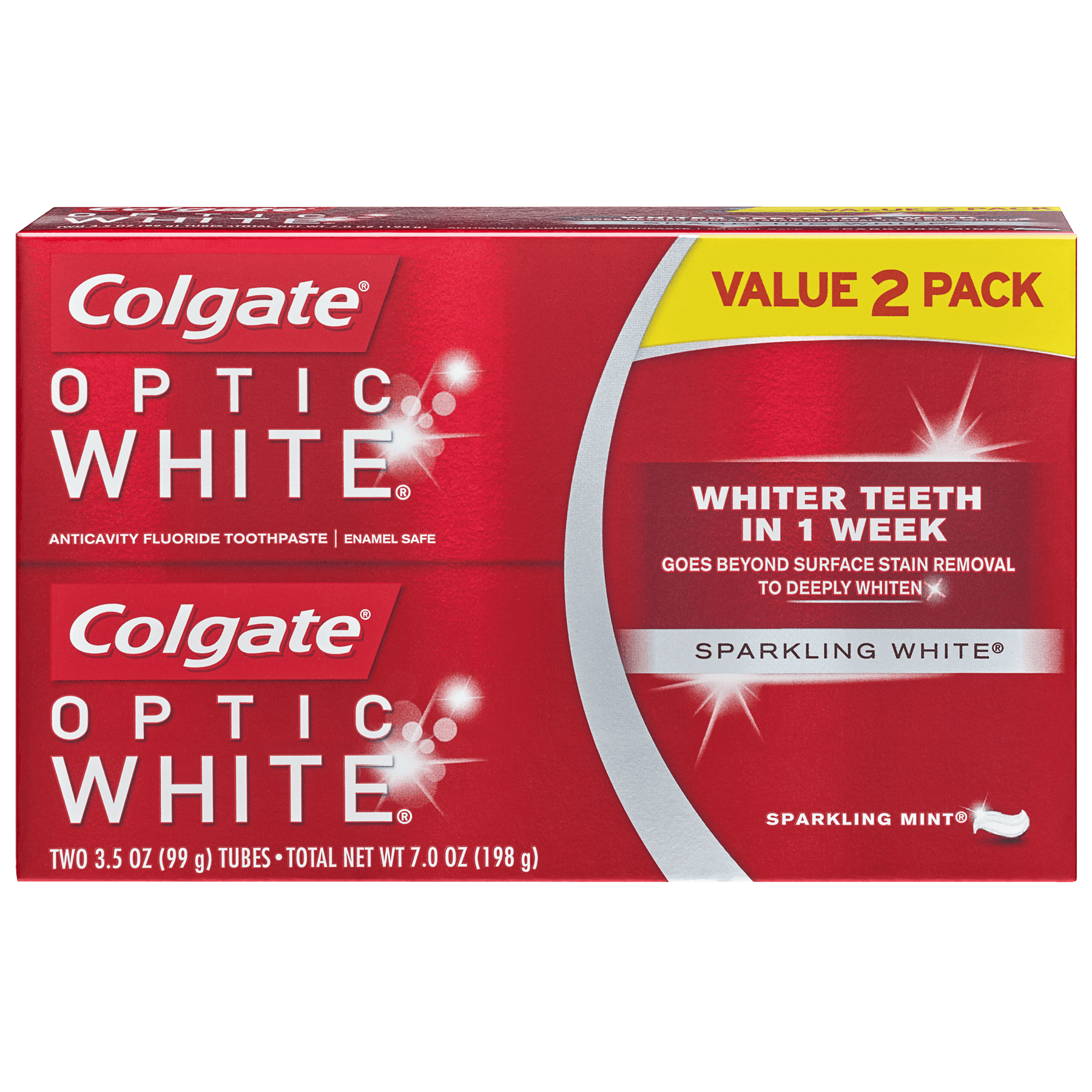 Colgate Optic White Whitening Toothpaste, Sparkling White - 3.5 ounce (2 pack)