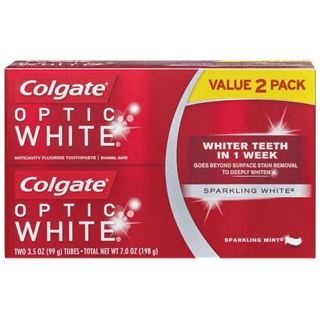 Colgate Optic White Whitening Toothpaste, Sparkling Mint - 3.5 Ounce (2 Pack)