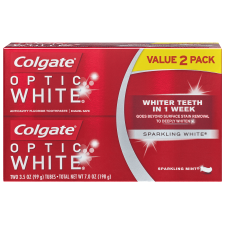 Colgate Optic White Whitening Toothpaste, Sparkling Mint - 3.5 Ounce (2 Pack) (Sparkle Whitening)