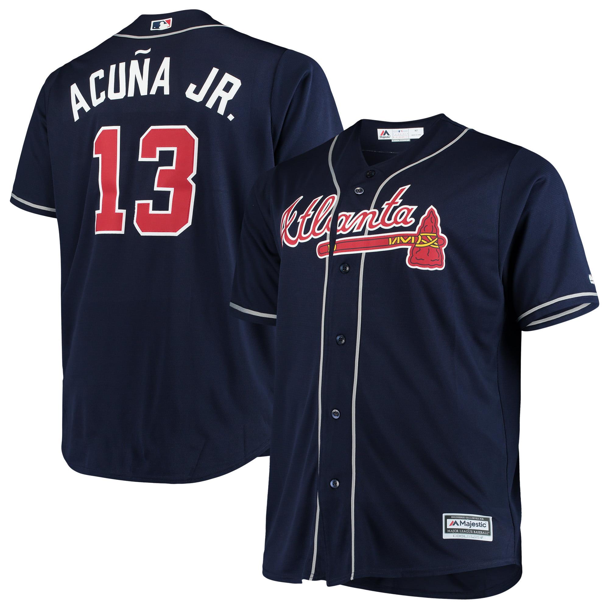 Ronald Acuna Jr. Atlanta Braves Majestic Big & Tall Alternate Cool Base Player Jersey   - Navy
