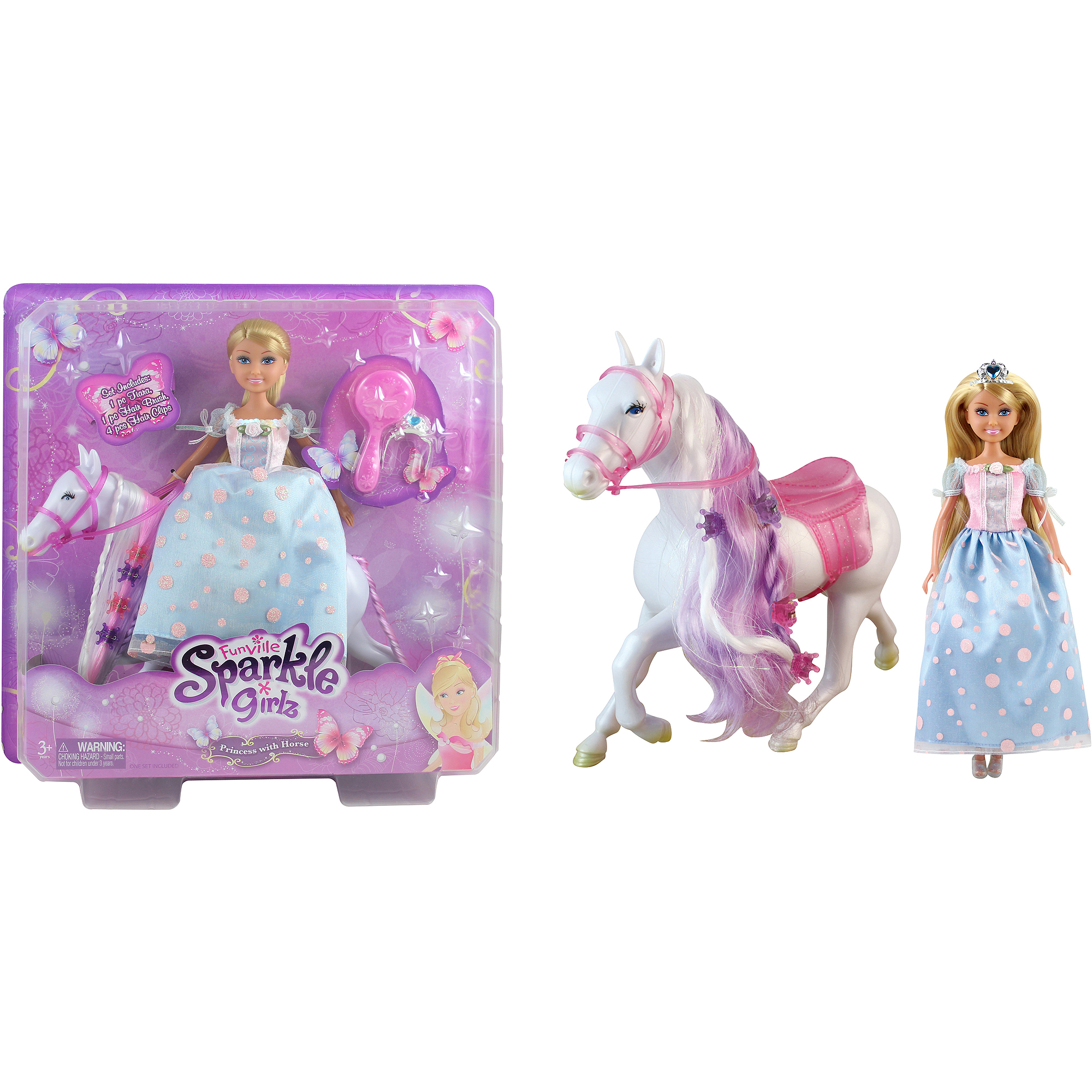 Funville Sparkle Girlz Princess with Horse Set, Caucasian, Style #2 by LIAN PING GREAT PERFORMANCE TOYS PRODUCT FACTORY