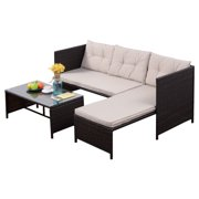 Goplus 3 PCS Outdoor Rattan Furniture Sofa Set Lounge Chaise Cushioned Patio Garden