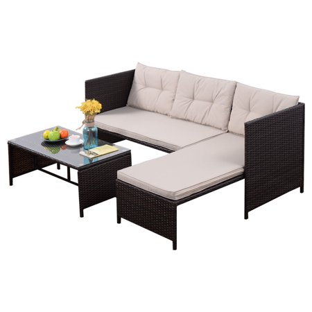Goplus 3 PCS Outdoor Rattan Furniture Sofa Set Lounge Chaise Cushioned Patio Garden ()