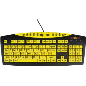 Ablenet 10090103 Keys-U-See Large Print USB Wired Keyboard - Black, Yellow