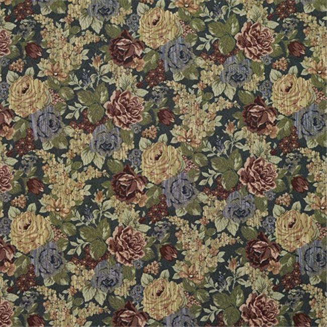 Designer Fabrics F925 54 in. Wide Blue, Red And Green, Floral Tapestry Upholstery Fabric