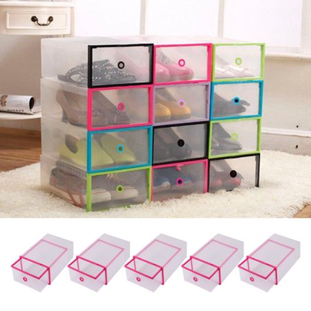 5PCS Rectangular Clear Plastic Shoe Box Transparent Drawer Case Protective Storage Shoe Boxes Storage Organizer Stackable Box by Ymiko ()