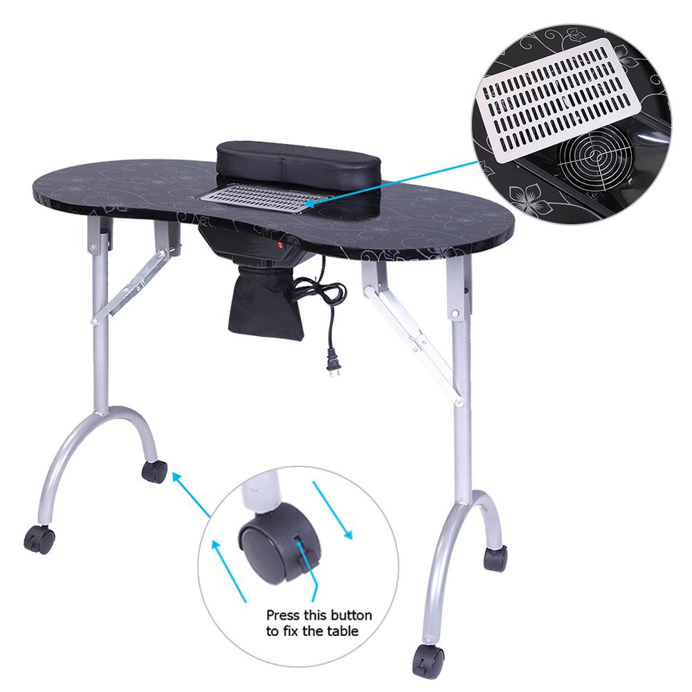 UBesGoo Manicure Nail Table Work Station Salon Foldable Desk W/ Vent Fan  Black - Walmart.com