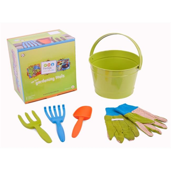 Twigz TW0830 My First Gardening Tools Box Set - Green Bucket