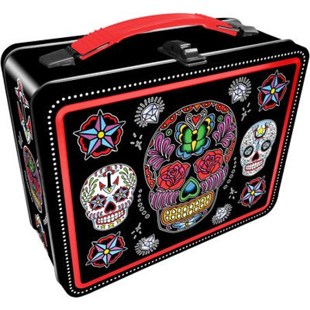 Lunch Box - Sugar Skulls - Black Gen 2 Metal Tin Case New Licensed - Suger Skull