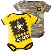 United States Army 2 pk Baby Gold & Camo Bodysuits 0-3M