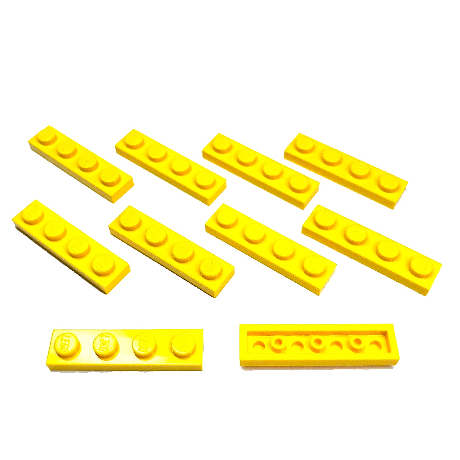 "Lego Parts: Plates ""1 x 4 Studs"" (Service Pack 3710 - 10 Yellow)"