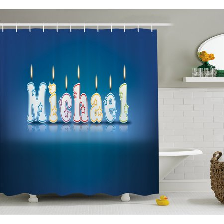 Michael Shower Curtain, Kids Boys Name Letter Design for Delicious Birthday Party Cake Decoration, Fabric Bathroom Set with Hooks, 69W X 70L Inches, Blue and Multicolor, by Ambesonne