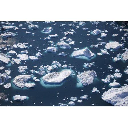Greenland, Ilulissat, Sermeq Kujalleq, Close-Up of Drifting Icebergs and a Body of Water Print Wall Art By Aliscia Young