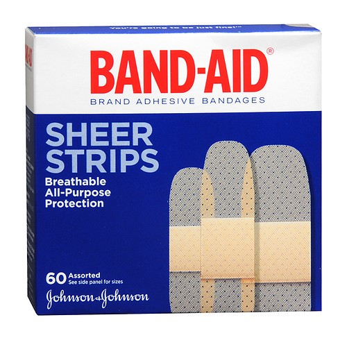 Band Aid Brand Adhesive Bandages Sheer Strips, Assorted Sizes, 60 Ct