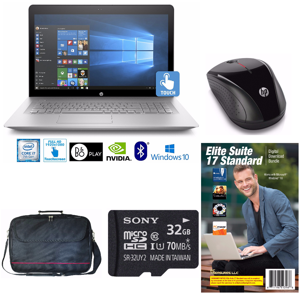 "HP ENVY 17, Core i7-7500, 16GB, 2TB, 17.3"" Full HD Touch Notebook Bundle"