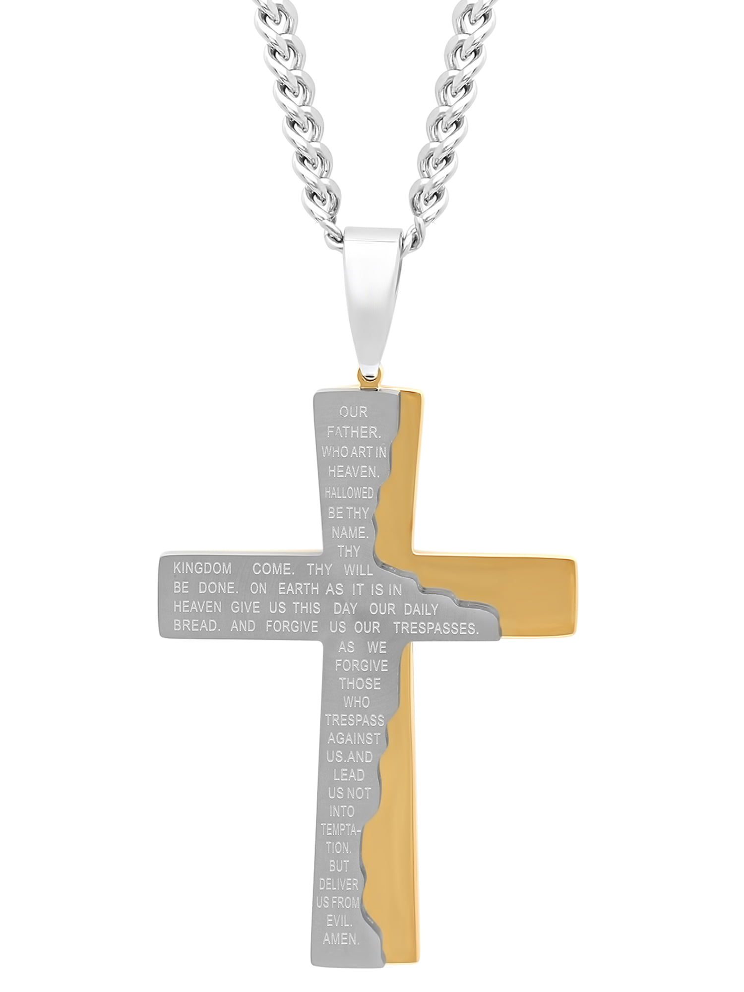 "Men's Stainless Steel Two-Tone Tablet Prayer Cross with 24"" Curb Chain Mens Pendant by C&C JEWELRY MFG INC"