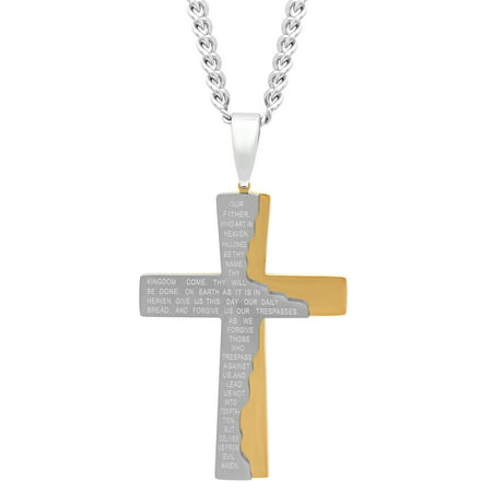 Men's Stainless Steel Gold-Tone Tablet Prayer Cross Pendant Necklace Chain