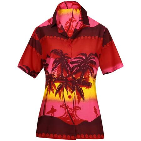 Women Shirt Top Hawaiian Beach Blouses Tank Casual Aloha Holiday Sport Boho