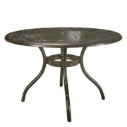 Pittman Outdoor Cast Aluminum Round Dining Table, Hammered Bronze