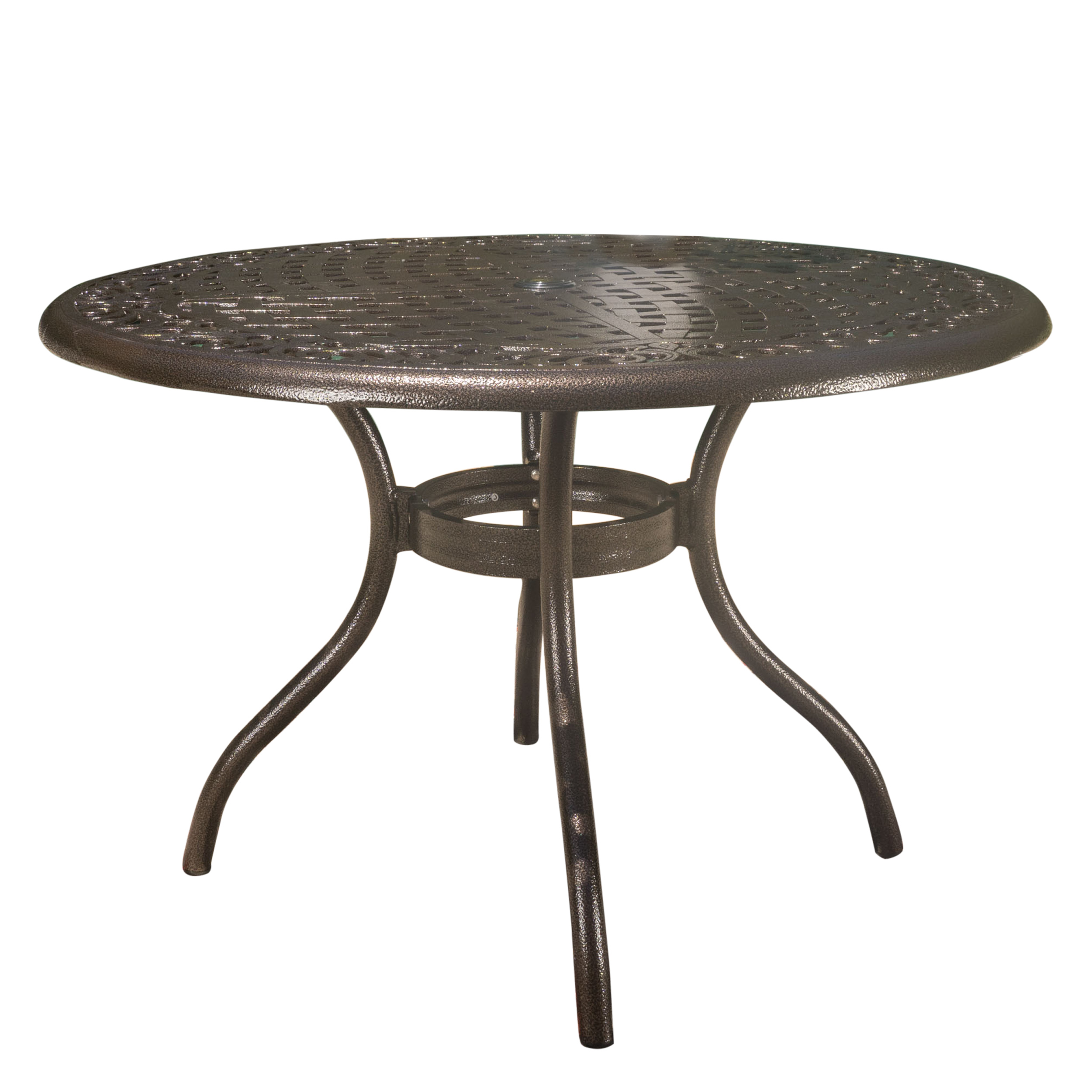 Noble House Pittman Outdoor Cast Aluminum Round Dining Table, Hammered Bronze