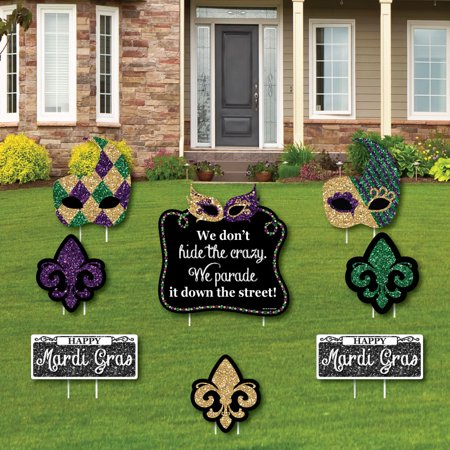 Mardi Gras - Yard Sign & Outdoor Lawn Decorations - Masquerade Party Yard Signs - Set of 8 - Mardi Gras Decorations Clearance