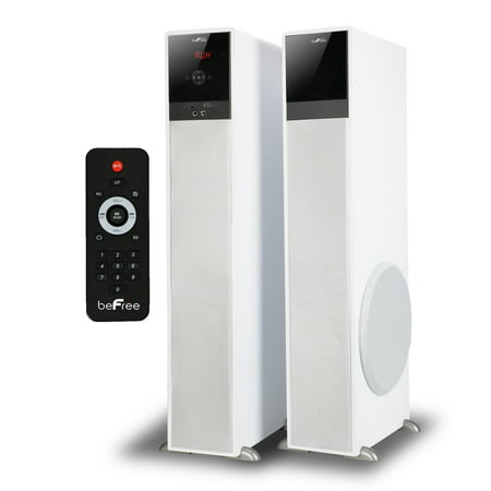 beFree Sound 2.1 Channel Bluetooth Tower Speakers – White