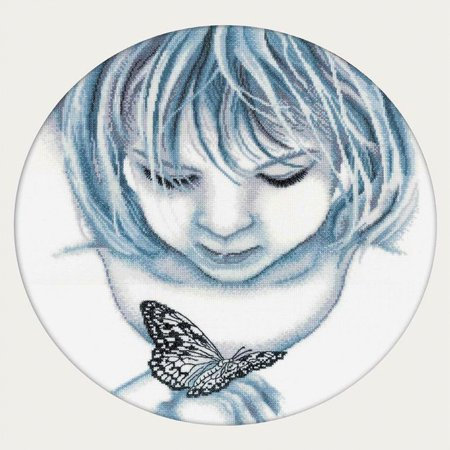 """Rto Counted Cross Stitch Kit 12.5""""X12.5""""-Girl W/ Butterfly (18 Count) - image 1 of 1"""