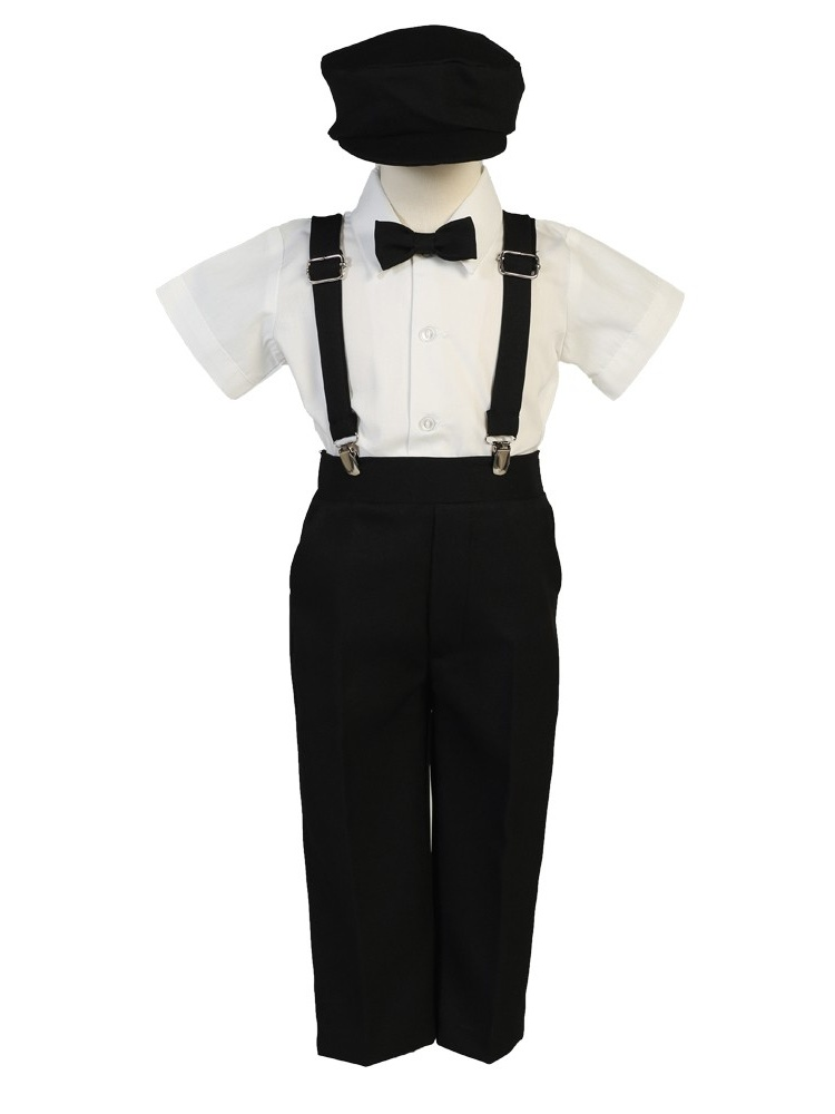 Little Boys Black Suspender Pants Hat Outfit Set 6