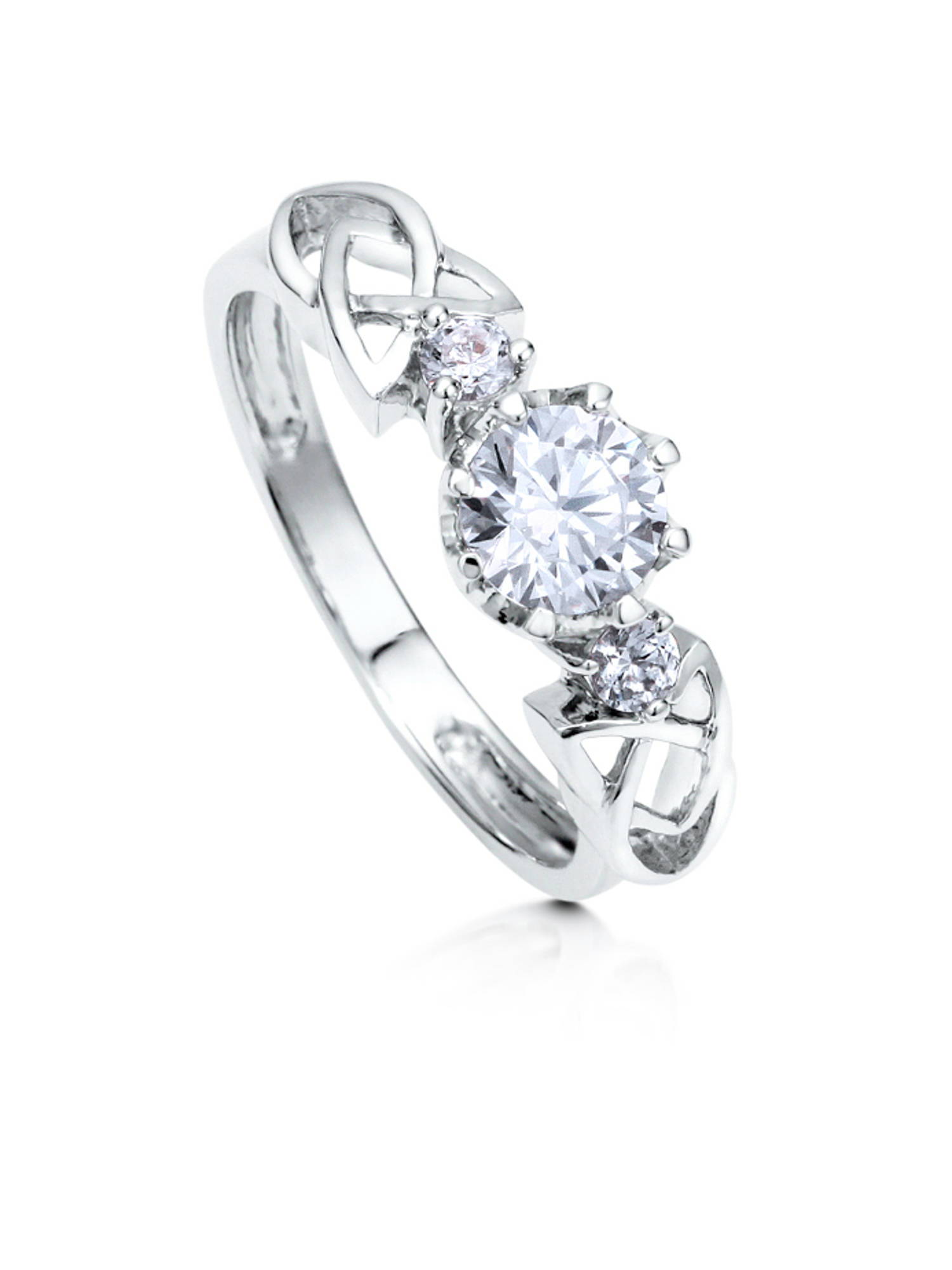Rhodium Plated Sterling Silver Cubic Zirconia CZ 3-Stone Celtic Knot Promise Ring Size 4.5