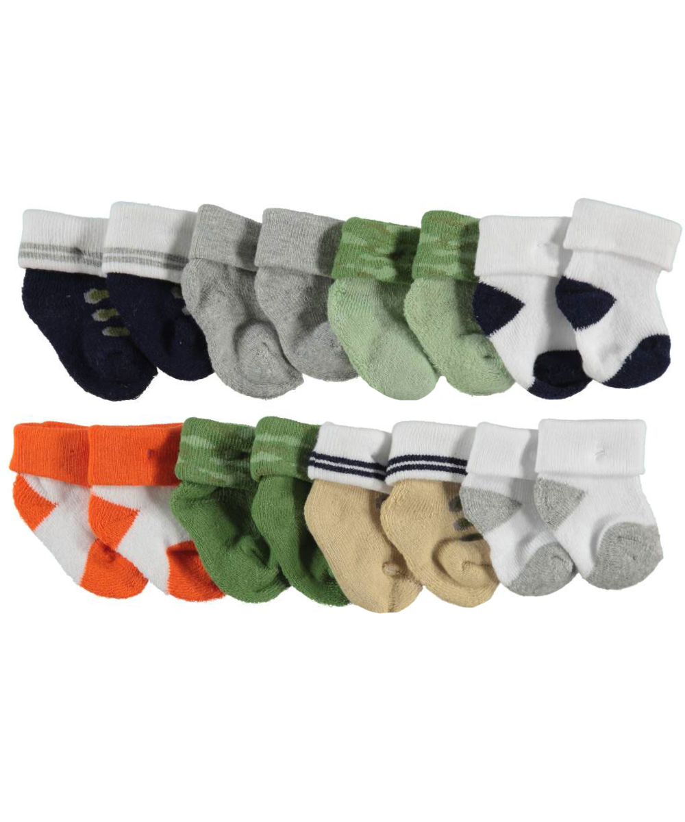 "Luvable Friends Baby Boys' ""Boots & Camo"" 8-Pack Socks"