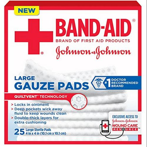 JOHNSON & JOHNSON Band-Aid First Aid Gauze Pads 4 Inches X 4 Inches 25 Each (Pack of 2)