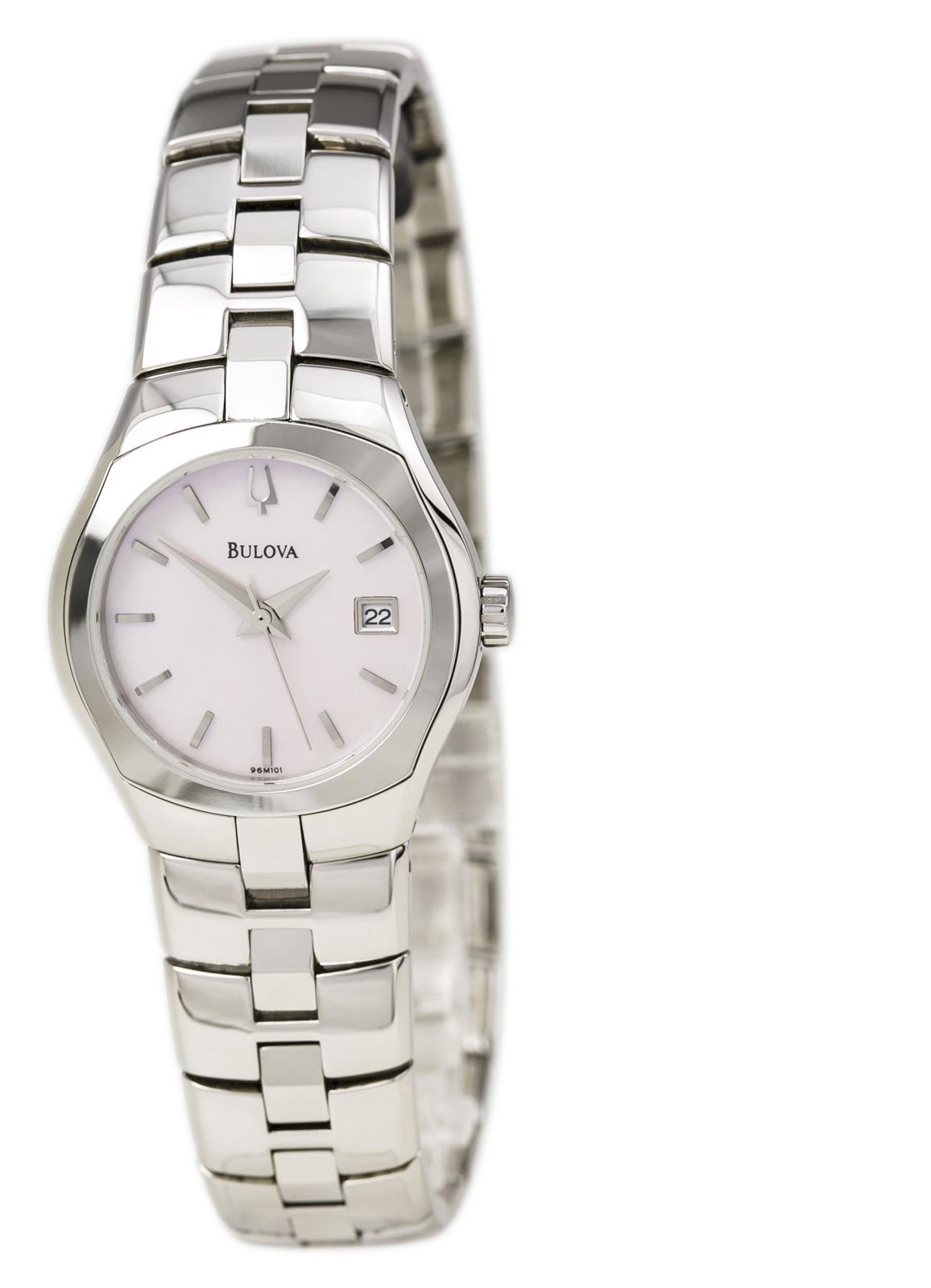Bulova 96M101 Women's Pink MOP Dial Steel Bracelet Dress Watch